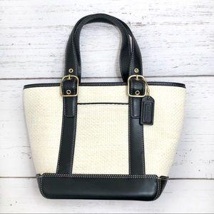 Coach Straw Leather Trim Bucket Tote Handbag cream